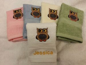 New! OWL PERSONALISED FACE CLOTH